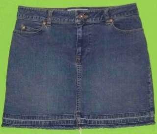 sz 1 Stretch Womens Juniors Blue Jeans Denim Mini Skirt KH12