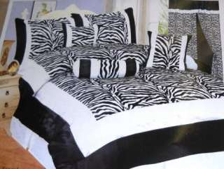 15 pc Black/White Silk Zebra Comforter & Drape Set KING
