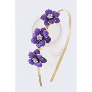 Fashion Hair Accessory ~ Purple TRI Flower Headband