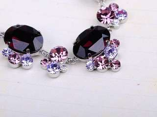 Amethyst Purple Grape Swarovski Crystal Rhinestone Dangle Earring