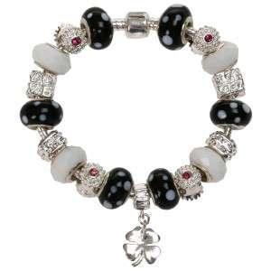 silver lampwork glass cats eye crystal European bracelet beads charms