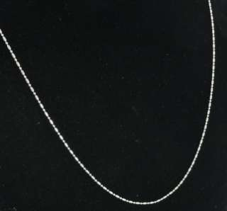 14K White Gold Bead Ball Bullet Dot Dash 1mm Link Chain Necklace 20