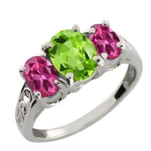 2.15 Ct Oval Green Peridot and Pink Tourmaline 10k White