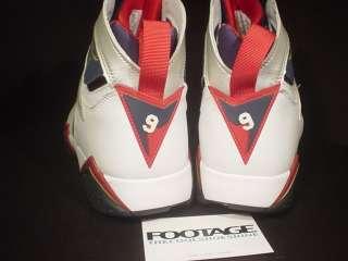 2004 Nike Air Jordan VII 7 Retro OLYMPIC WHITE GOLD NAVY BLUE RED Sz