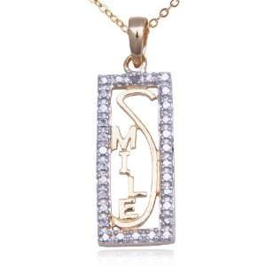 18k Yellow Gold Plated Sterling Silver Diamond Smile