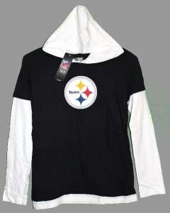 Pittsburgh STEELERS Black & White HOODIE SHIRT Womens M