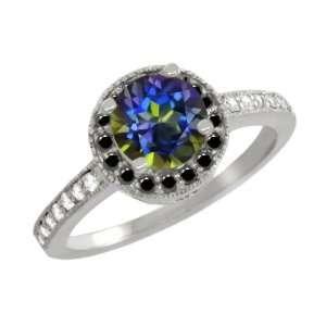 Ct Round Blue Mystic Topaz Black Diamond 10K White Gold Ring Jewelry