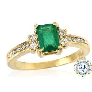 1.30 Ct Natural Emerald & Diamond 14K Solid Gold Ring Jewelry
