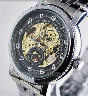Unique Elegant Skeleton Gold Auto Mechanical Mens Watch