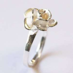 Thaimart Beautiful Rose Flower Ring White 925 Sterling Silver Size 10