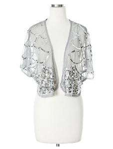Lace and Sequin Shrug (Colors Black, Gray Grey)