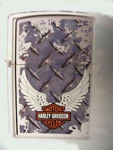 Harley Davidson Winged Logo Diamondplate Zippo Lighter