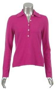 Sutton Studio Womens 100% Cashmere Polo long Sleeve Sweater   Petite