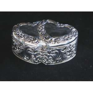 Silver Double Heart Jewelry Box