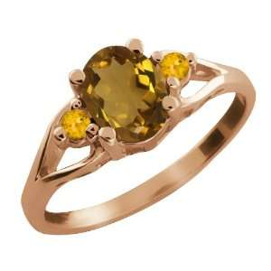 Ct Oval Whiskey Quartz and Yellow Citrine 14k Rose Gold Ring Jewelry