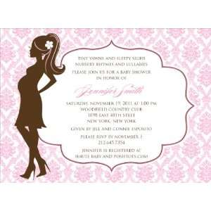 Damask Silhouette Pink Baby Shower Invitations