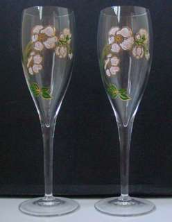 PERRIER JOUET CRYSTAL CHAMPAGNE Flute PAIR   Rare
