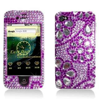 4S Purple Flower Lace Rhinestone Faceplate Diamond Crystal Case Cover