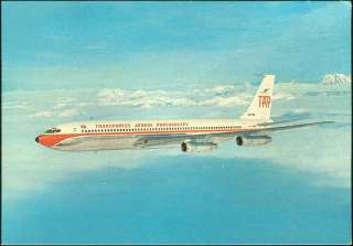 PORTUGAL RARE OLD BOEING 707 TAP AVIATION POSTCARD LOOK