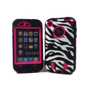 Armored Core Zebra White/Black Print Case with Hot Pink