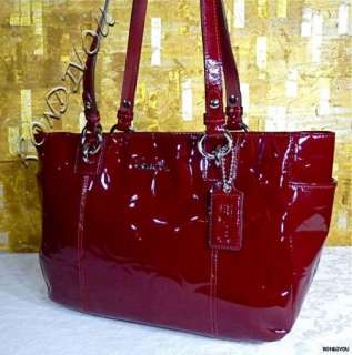 NWT COACH DARK CHERRY RED GLAM PATENT LEATHER EMBOSSED SIGNATURE LARGE