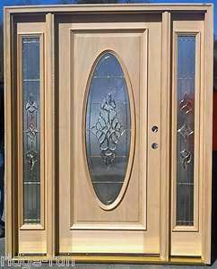 Full Oval Solid Wood Entry Door with Rect. Sidelights