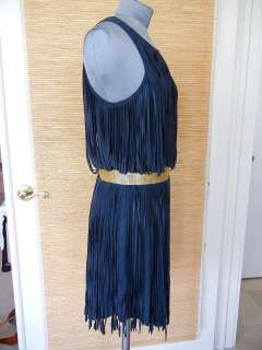 HAUTE HIPPIE Dress Blue Suede Fringe S nwt