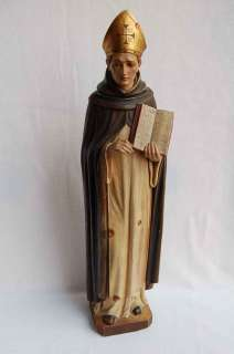 Older hand carved wood statue of St. Albert, O.P. +