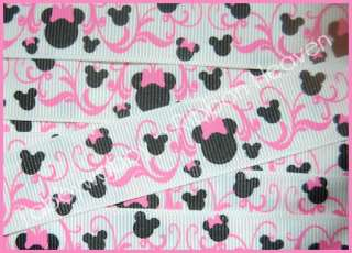 Pink Mouse Head Scrolls Valentines Day Grosgrain Ribbon TWRH