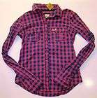 ABERCROMBIE Hollister Women Navy Blue Pink Green Plaid Button Shirt XS