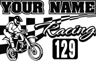 Motocross Dirtbike w/ Custom Name & Number Vinyl Wall Decal Sticker