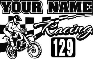 Motocross Dirtbike w/ Custom Name & Number Vinyl Wall Decal Sticker