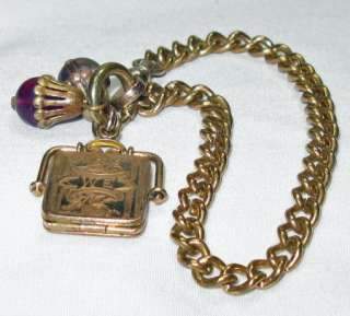 Antique Victorian Rose Gold Filled Watch Chain Bracelet, Locket