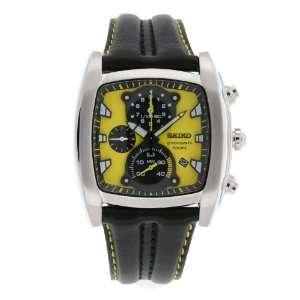 Seiko Mens SPC035 Chronograph Yellow Dial Leather Strap Watch Seiko