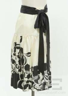 Temperley London Ivory & Black Silk Floral Print Wrap Skirt Size 10 US