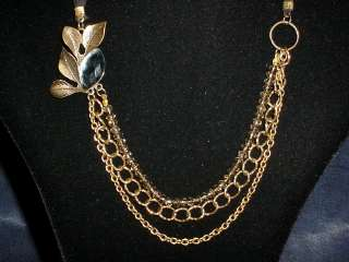 Vintage antique style Gold tone art deco necklace with gold crystal