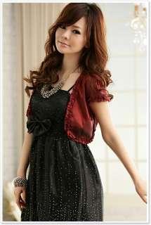 Women Lady Girl Formal Evening Dress Light Jacket Red