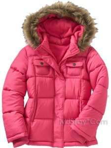 NWT Old Navy Pink Girls Faux Fur Trim Hooded Frost Free Jacket Warm