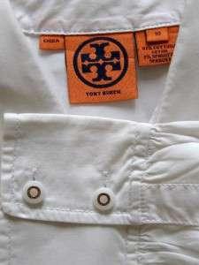 TORY BURCH White Cotton/Spandex Long Sleeve Blouse 10
