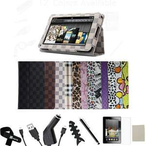 For Kindle Fire Folio Leather Case/Screen Protector/Car Charger/USB