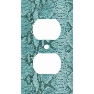 Blue Snake Skin Print Decorative Outlet Cover