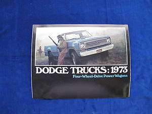 1973 DODGE TRUCKS FOUR WHEEL DRIVE POWER WAGONS SALES BROCHURE C5108