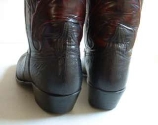 Womens Cowboy Boots Lucchese Black Lizard w/Black Cherry Shafts 7 B