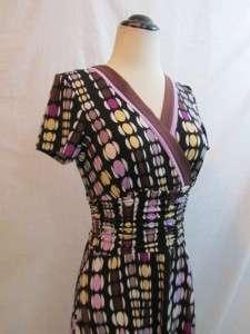 SANDRA DARREN Polka Dot Print Faux Wrap Ruched Shirred Pinup Knit