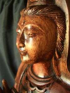 20 Hand Carved Wooden Quan Yin Goddess of Mercy Statue