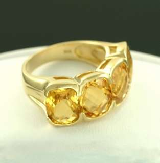 14K Gold Yellow Criss Cross Cut Citrine 7.90 CTW Cocktail Bold Ring