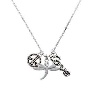 Dragonfly with Swarovski Crystal, Peace, Love Charm Necklace Jewelry