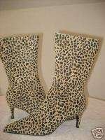 NEW VS COLIN STUART leather leopard print boot 5 SEXY