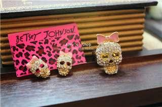 Betsey Johnson Pink Bow Skull Ring Diam17mm US7