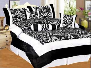 Zebra Satin Purple Black Pink White Comforter Set Queen